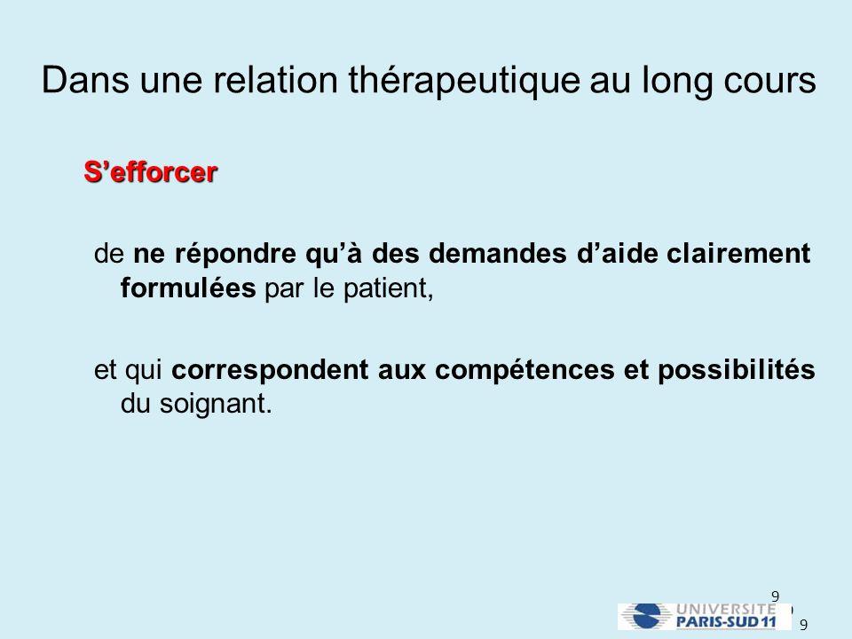 9 9 9 Dans une relation thérapeutique au long cours Sefforcer de ne répondre quà des demandes daide clairement formulées par le patient, et qui correspondent aux compétences et possibilités du soignant.