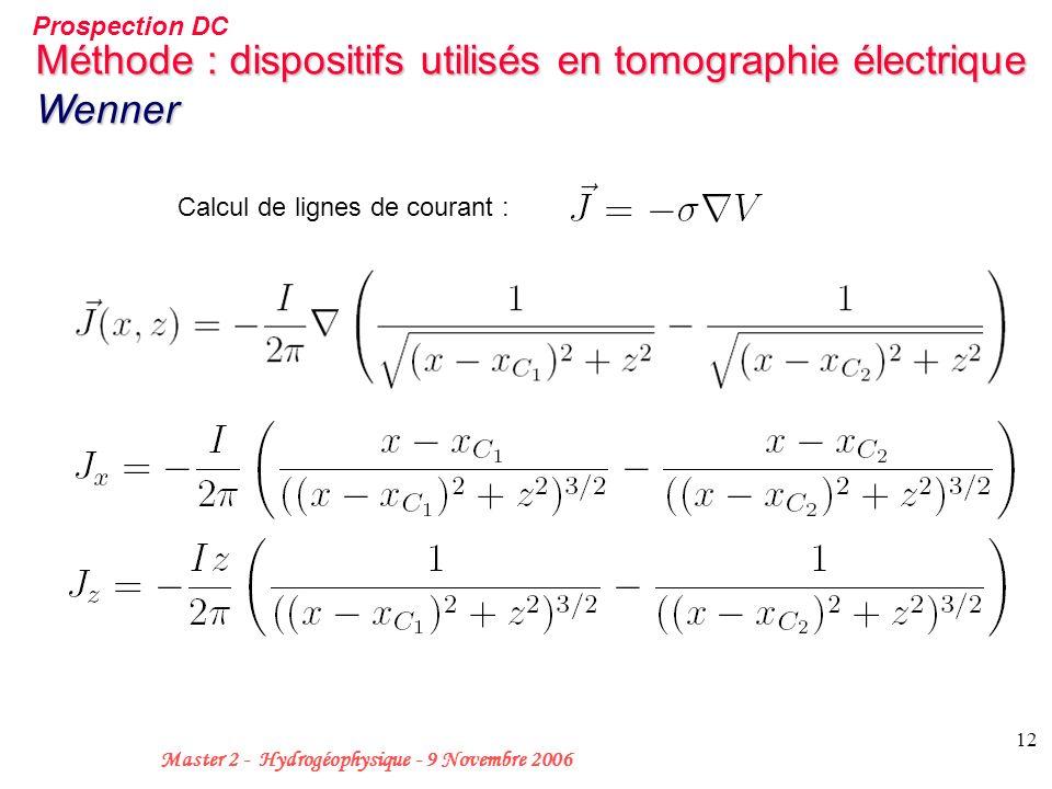 12 Master 2 - Hydrogéophysique - 9 Novembre 2006 Méthode : dispositifs utilisés en tomographie électrique Wenner Calcul de lignes de courant : Prospec