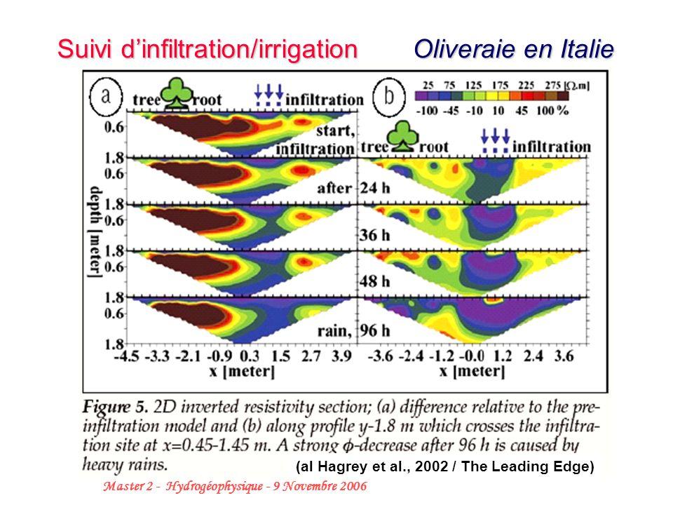 31 Master 2 - Hydrogéophysique - 9 Novembre 2006 Suivi dinfiltration/irrigation Oliveraie en Italie (al Hagrey et al., 2002 / The Leading Edge)