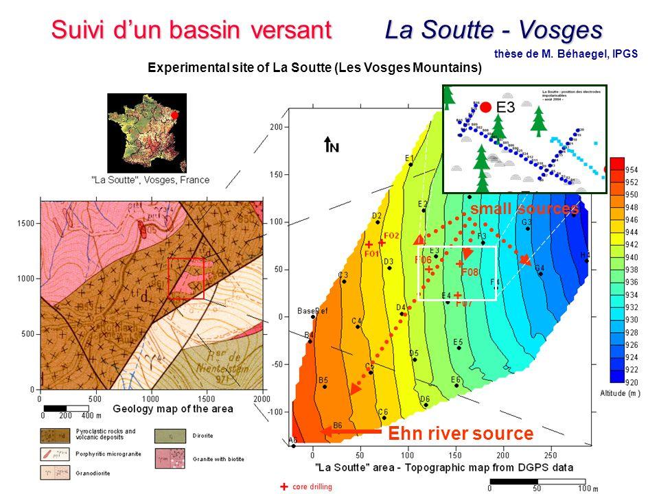35 Master 2 - Hydrogéophysique - 9 Novembre 2006 Ehn river source small sources + + + F06 F08 F07 + + + thèse de M. Béhaegel, IPGS Experimental site o