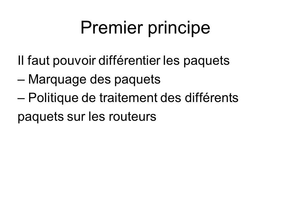 Premier principe Il faut pouvoir différentier les paquets – Marquage des paquets – Politique de traitement des différents paquets sur les routeurs