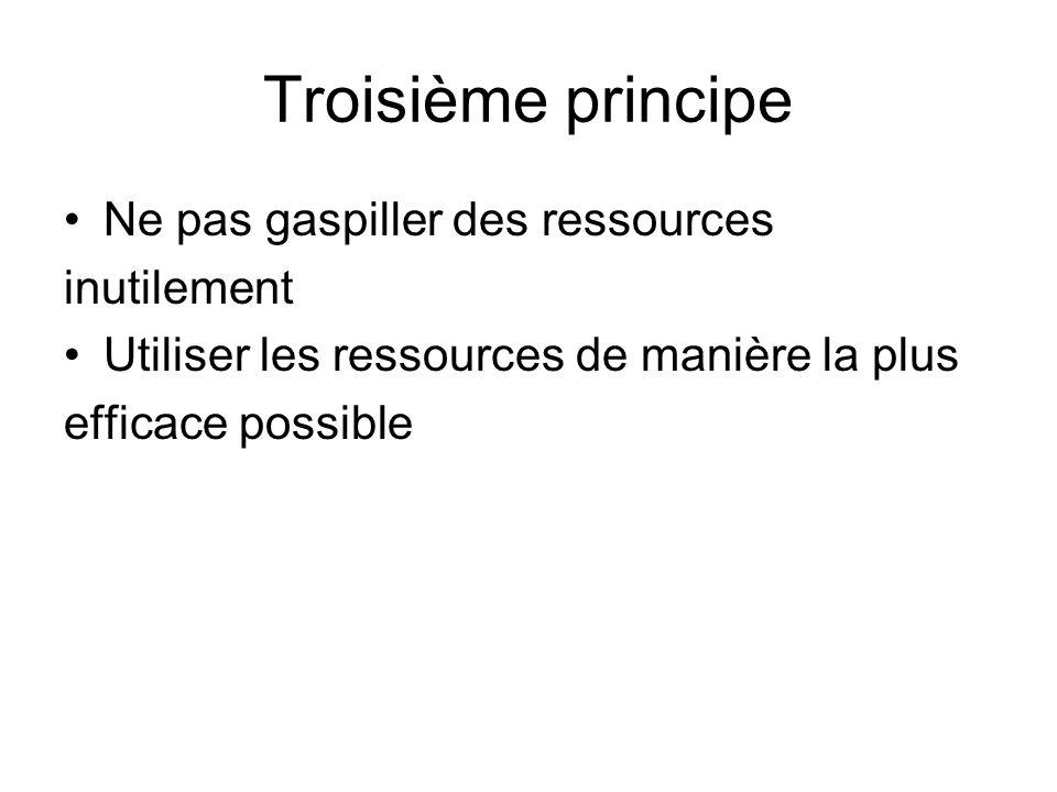 Troisième principe Ne pas gaspiller des ressources inutilement Utiliser les ressources de manière la plus efficace possible