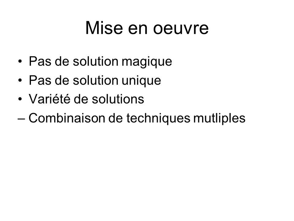 Mise en oeuvre Pas de solution magique Pas de solution unique Variété de solutions – Combinaison de techniques mutliples