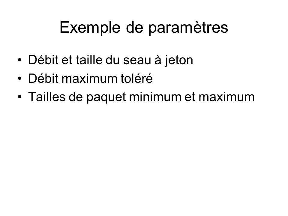 Exemple de paramètres Débit et taille du seau à jeton Débit maximum toléré Tailles de paquet minimum et maximum