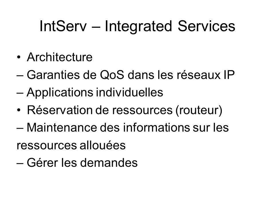 IntServ – Integrated Services Architecture – Garanties de QoS dans les réseaux IP – Applications individuelles Réservation de ressources (routeur) – M