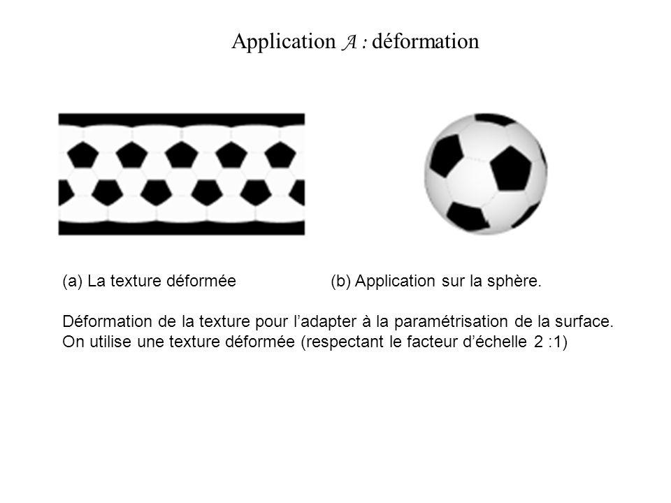 (a) La texture déformée (b) Application sur la sphère. Déformation de la texture pour ladapter à la paramétrisation de la surface. On utilise une text