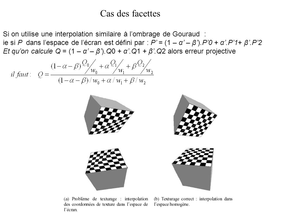 Cas des facettes Si on utilise une interpolation similaire à lombrage de Gouraud : ie si P dans lespace de lécran est défini par : P = (1 – α – β).P0