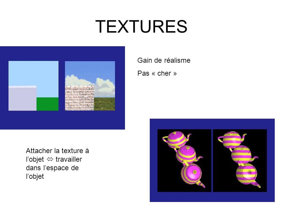 TEXTURES Gain de réalisme Pas « cher » Attacher la texture à lobjet travailler dans lespace de lobjet