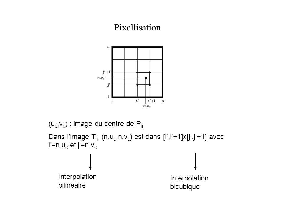 Pixellisation (u c,v c ) : image du centre de P ij Dans limage T ij, (n.u c,n.v c ) est dans [i,i+1]x[j,j+1] avec i=n.u c et j=n.v c Interpolation bil