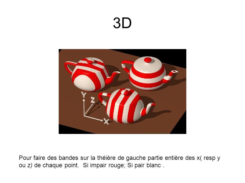 3D Pour faire des bandes sur la théière de gauche partie entière des x( resp y ou z) de chaque point. Si impair rouge; Si pair blanc.