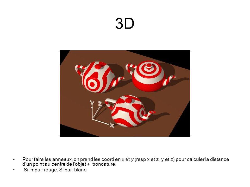 3D Pour faire les anneaux, on prend les coord en x et y (resp x et z, y et z) pour calculer la distance dun point au centre de lobjet + troncature. Si