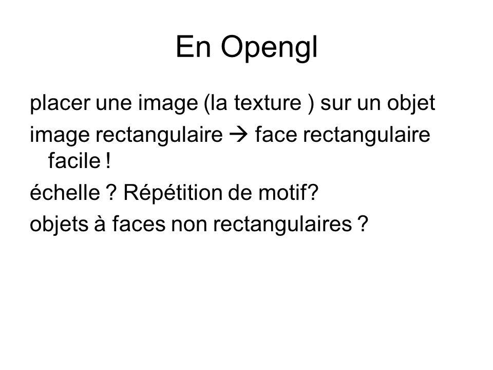 En Opengl placer une image (la texture ) sur un objet image rectangulaire face rectangulaire facile ! échelle ? Répétition de motif? objets à faces no