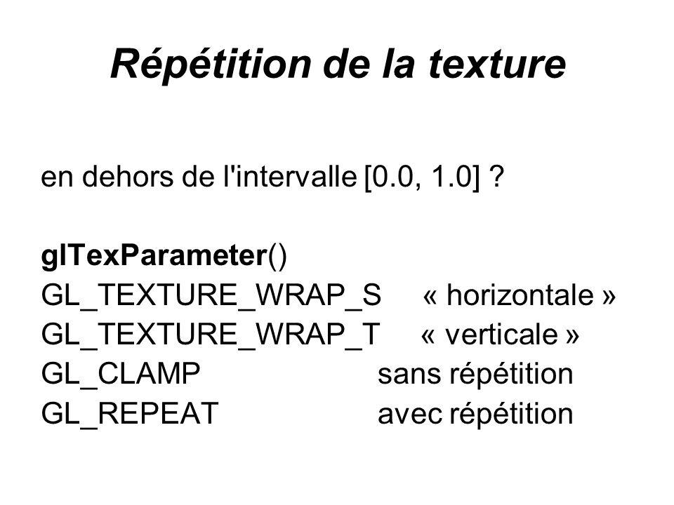 Répétition de la texture en dehors de l'intervalle [0.0, 1.0] ? glTexParameter() GL_TEXTURE_WRAP_S « horizontale » GL_TEXTURE_WRAP_T « verticale » GL_