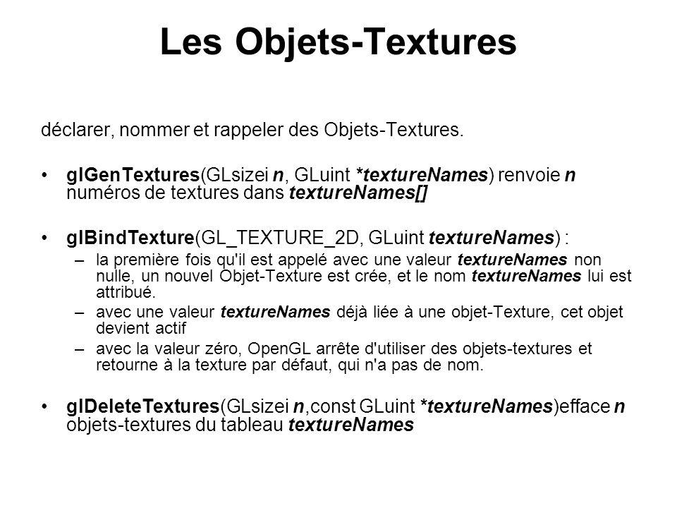 Les Objets-Textures déclarer, nommer et rappeler des Objets-Textures. glGenTextures(GLsizei n, GLuint *textureNames) renvoie n numéros de textures dan