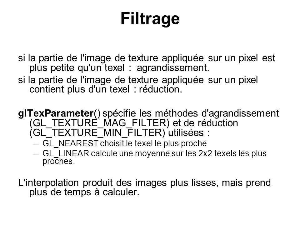 Filtrage si la partie de l'image de texture appliquée sur un pixel est plus petite qu'un texel : agrandissement. si la partie de l'image de texture ap