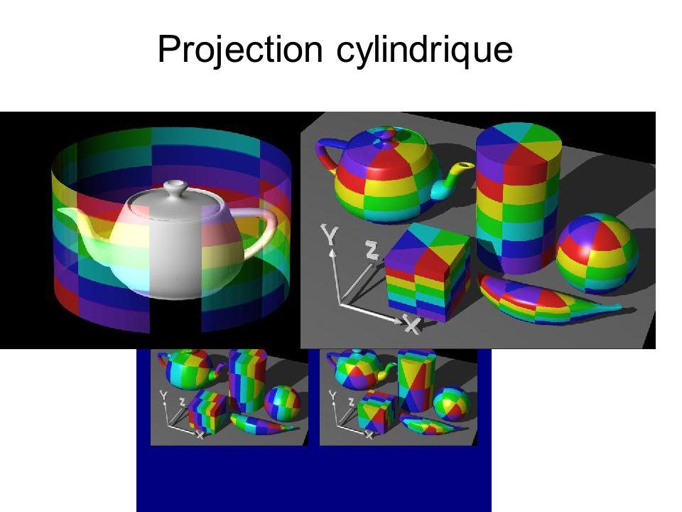 Niveaux de détail Selon la distance à la caméra taille + ou - importante de l image de texture utilisée (mipmapping) Soit fournir les images de texture aux différentes tailles (glTexImage2D() à différentes résolutions), ou bien gluBuild2DMipmaps(), qui calcule les images réduites.
