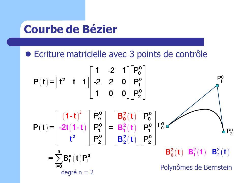 Courbe de Bézier Ecriture matricielle avec 3 points de contrôle Polynômes de Bernstein degré n = 2