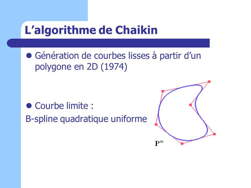 Lalgorithme de Chaikin Génération de courbes lisses à partir dun polygone en 2D (1974) Courbe limite : B-spline quadratique uniforme