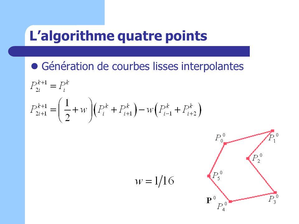 Lalgorithme quatre points Génération de courbes lisses interpolantes