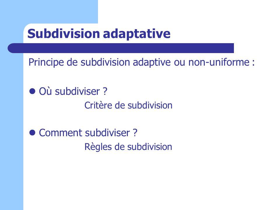 Subdivision adaptative Principe de subdivision adaptive ou non-uniforme : Où subdiviser ? Critère de subdivision Comment subdiviser ? Règles de subdiv