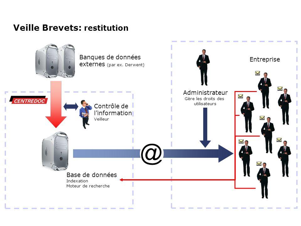Entreprise Veille Brevets: restitution Banques de données externes (par ex. Derwent) Base de données Indexation Moteur de recherche Contrôle de linfor