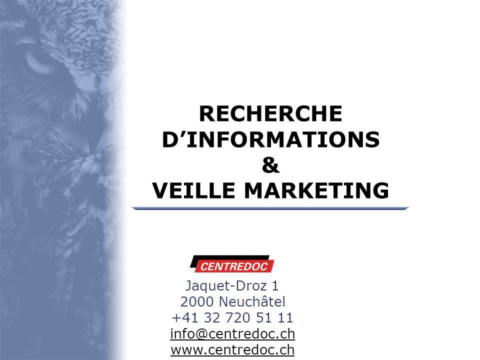 Présentation Veille stratégique CENTREDOC Prestations Sources dinformation Veille marketing Mise en oeuvre Exemple