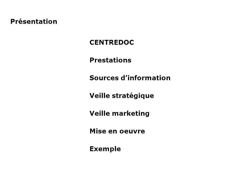 Veille : processus de référence Analyse - Prise de contact - Expression des besoins - Esquisse de stratégie - Discussion du planning Actions Moyens - Feuille de recherche Mise en place - Ecriture de la stratégie - Test des stratégies - Extraction des données - Envoi au client Actions Moyens - Outils de recherche - Bases de données Validation - Evaluation des données - Proposition de correction - Ajout/suppression de critères de recherche Actions Moyens - Feed-back Veille - Mises à jour - Alertes - Gestion du service - Correction de stratégie - Ajout de thématiques Actions Moyens - RAPID - Alerte e-mail Mise en place du Portail - Classifications - Graphisme - Droits et accès Actions 2 à 3 jours 3 à 4 semaines Ajout de sujet(s) de veille