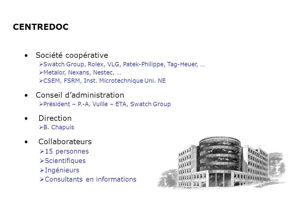 CENTREDOC Collaborateurs 15 personnes Scientifiques Ingénieurs Consultants en informations Société coopérative Swatch Group, Rolex, VLG, Patek-Philipp