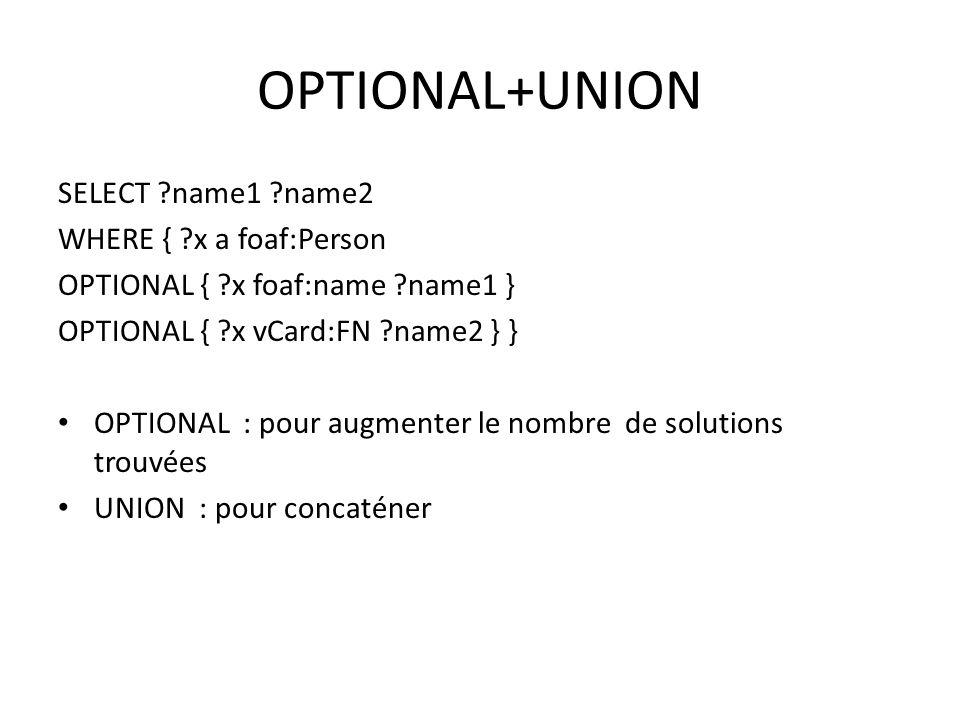 OPTIONAL+UNION SELECT ?name1 ?name2 WHERE { ?x a foaf:Person OPTIONAL { ?x foaf:name ?name1 } OPTIONAL { ?x vCard:FN ?name2 } } OPTIONAL : pour augmenter le nombre de solutions trouvées UNION : pour concaténer