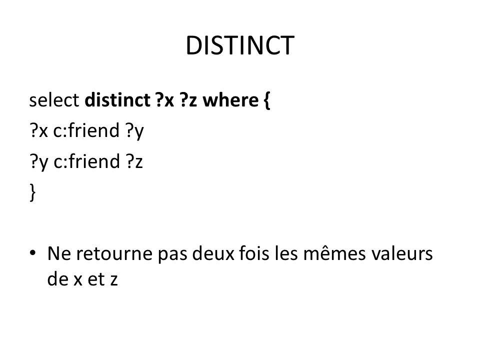 DISTINCT select distinct ?x ?z where { ?x c:friend ?y ?y c:friend ?z } Ne retourne pas deux fois les mêmes valeurs de x et z