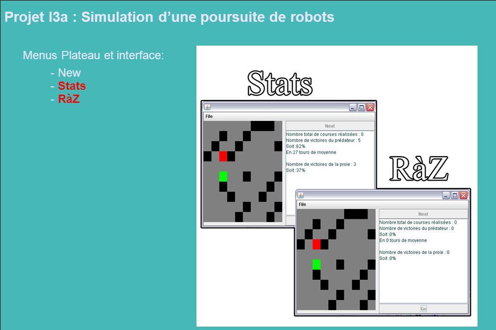 Projet I3a : Simulation dune poursuite de robots Menus Plateau et interface: - New - Stats - RàZ