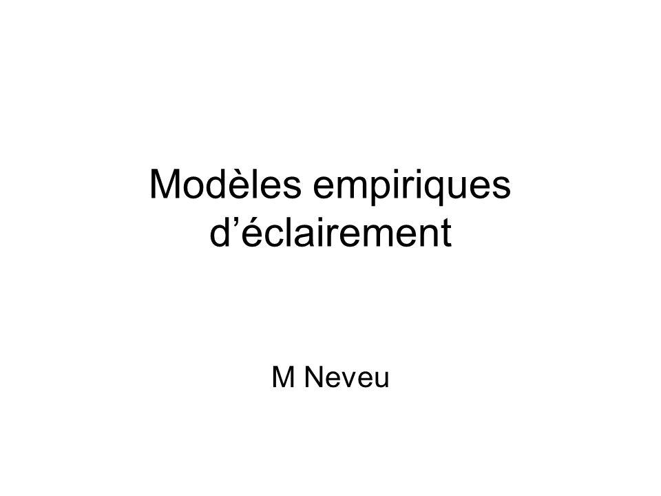 Modèles empiriques déclairement M Neveu