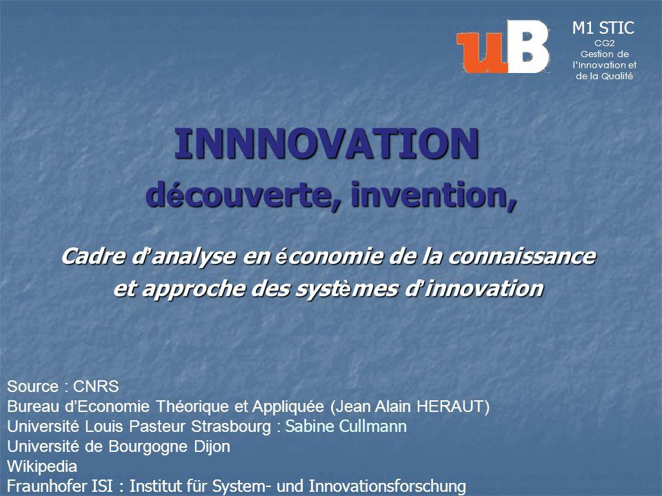 INNNOVATION d é couverte, invention, d é couverte, invention, Cadre d analyse en é conomie de la connaissance et approche des syst è mes d innovation