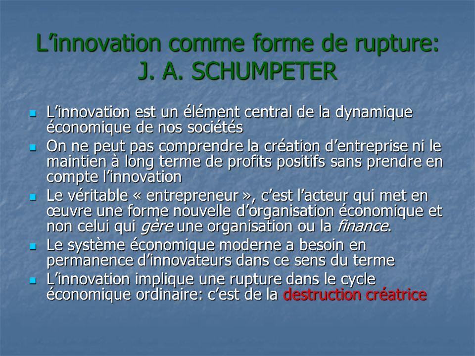 Linnovation comme forme de rupture: J. A. SCHUMPETER Linnovation est un élément central de la dynamique économique de nos sociétés Linnovation est un