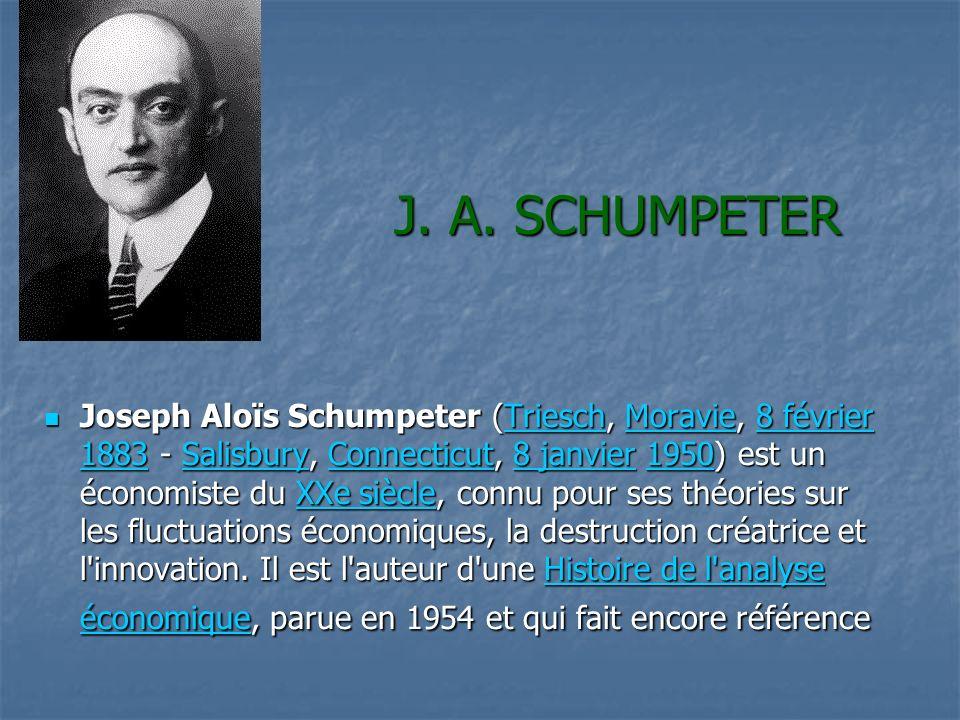 J. A. SCHUMPETER Joseph Aloïs Schumpeter (Triesch, Moravie, 8 février 1883 - Salisbury, Connecticut, 8 janvier 1950) est un économiste du XXe siècle,