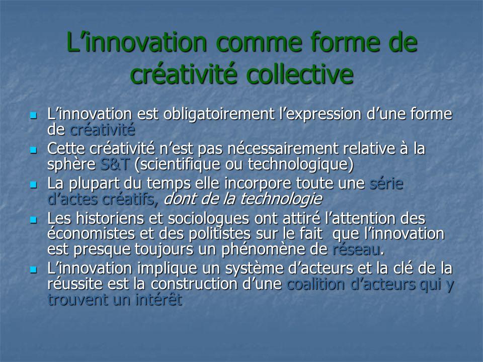Linnovation comme forme de créativité collective Linnovation est obligatoirement lexpression dune forme de créativité Linnovation est obligatoirement