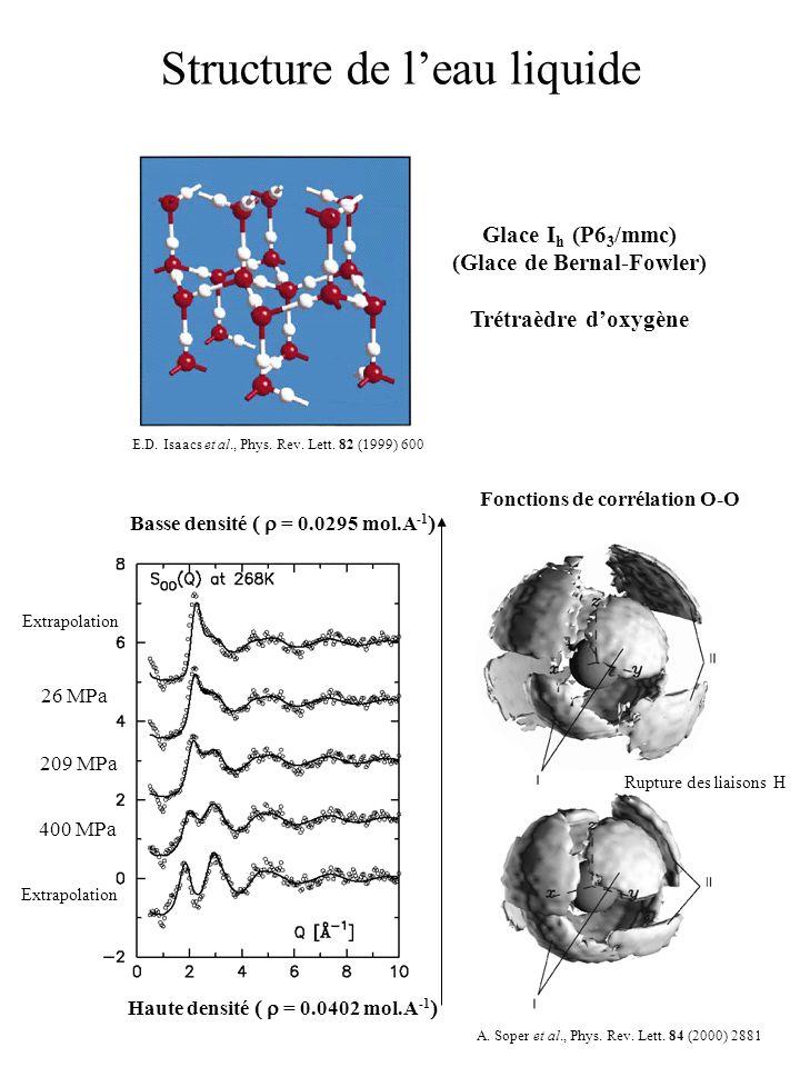 Structure de leau liquide Glace I h (P6 3 /mmc) (Glace de Bernal-Fowler) Trétraèdre doxygène 26 MPa 209 MPa 400 MPa Basse densité = 0.0295 mol.A -1 Ha
