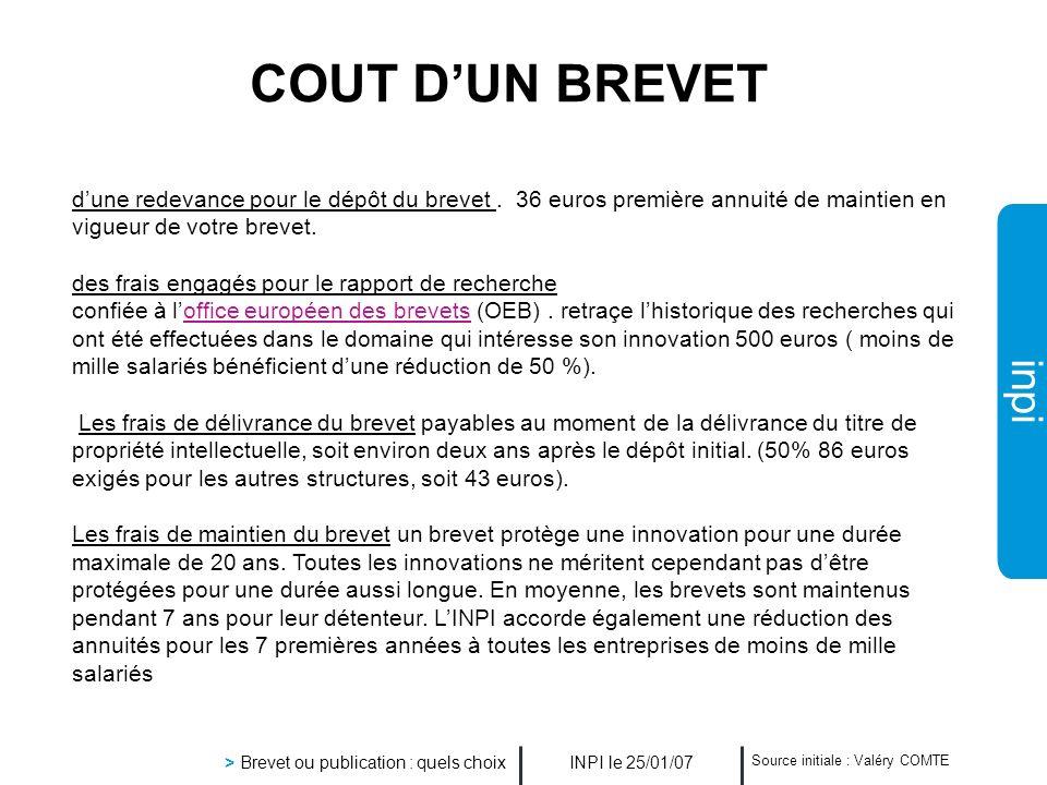 inpi INPI le 25/01/07 > Brevet ou publication : quels choix Source initiale : Valéry COMTE COUT DUN BREVET dune redevance pour le dépôt du brevet. 36