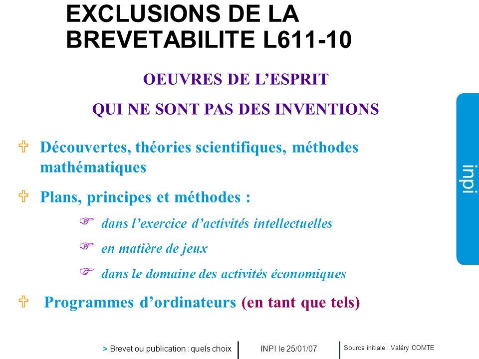 inpi INPI le 25/01/07 > Brevet ou publication : quels choix Source initiale : Valéry COMTE UDécouvertes, théories scientifiques, méthodes mathématique