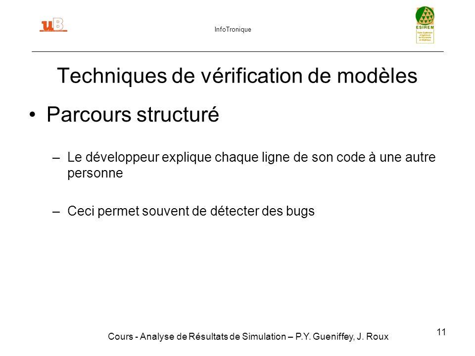11 Techniques de vérification de modèles Cours - Analyse de Résultats de Simulation – P.Y.