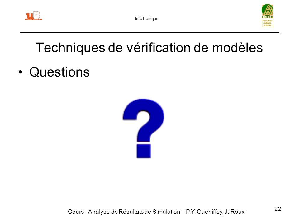 22 Techniques de vérification de modèles Cours - Analyse de Résultats de Simulation – P.Y.