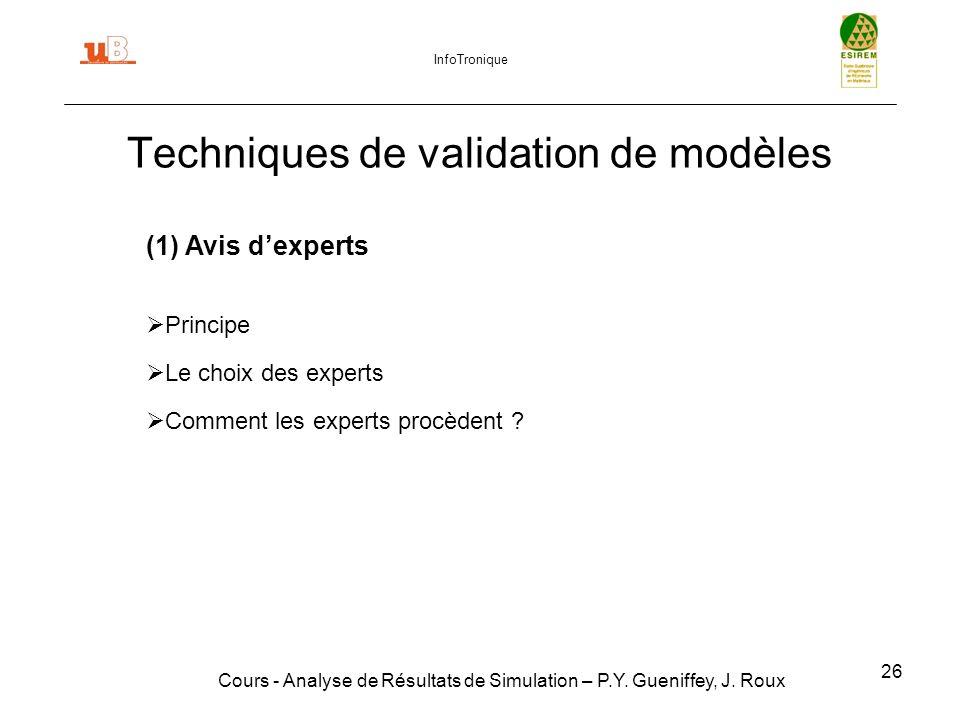26 Techniques de validation de modèles Cours - Analyse de Résultats de Simulation – P.Y.