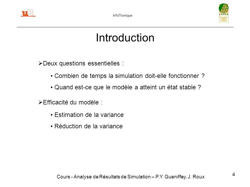 45 Plan Introduction Techniques de vérification de modèles Techniques de validation de modèles Suppression de létat transitoire Simulations terminales Critère de fin : Estimation de la variance Réduction de la variance Conclusion Cours - Analyse de Résultats de Simulation – P.Y.
