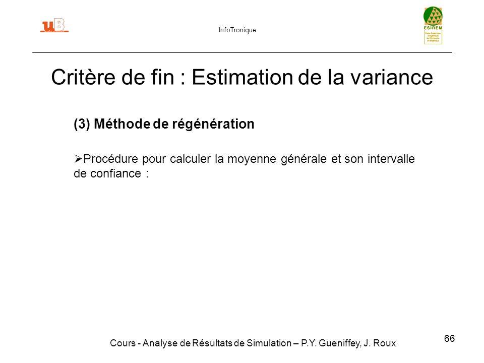 66 Critère de fin : Estimation de la variance Cours - Analyse de Résultats de Simulation – P.Y.