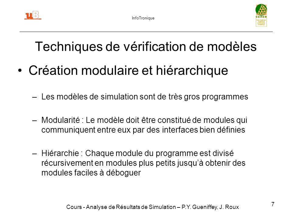 48 Plan Introduction Techniques de vérification de modèles Techniques de validation de modèles Suppression transitoire Simulations terminales Critère de fin : Estimation de la variance Réduction de la variance Conclusion Cours - Analyse de Résultats de Simulation – P.Y.