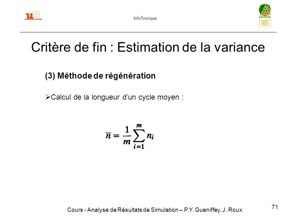 71 Critère de fin : Estimation de la variance Cours - Analyse de Résultats de Simulation – P.Y.