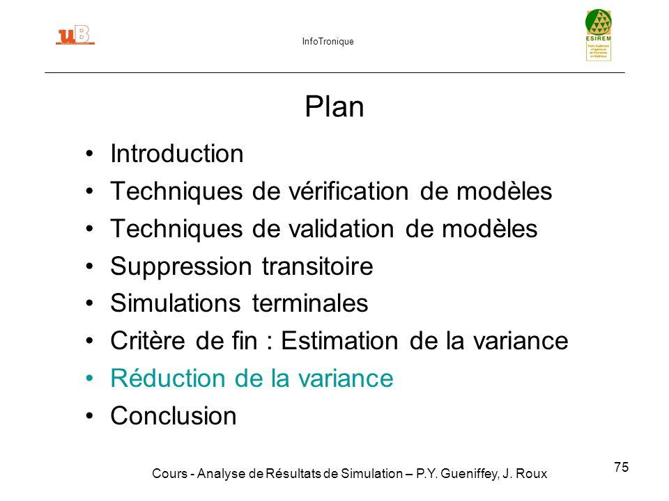 75 Plan Introduction Techniques de vérification de modèles Techniques de validation de modèles Suppression transitoire Simulations terminales Critère de fin : Estimation de la variance Réduction de la variance Conclusion Cours - Analyse de Résultats de Simulation – P.Y.