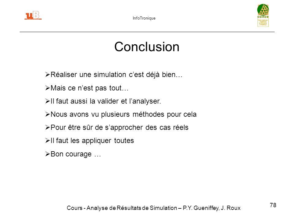 78 Conclusion Cours - Analyse de Résultats de Simulation – P.Y.