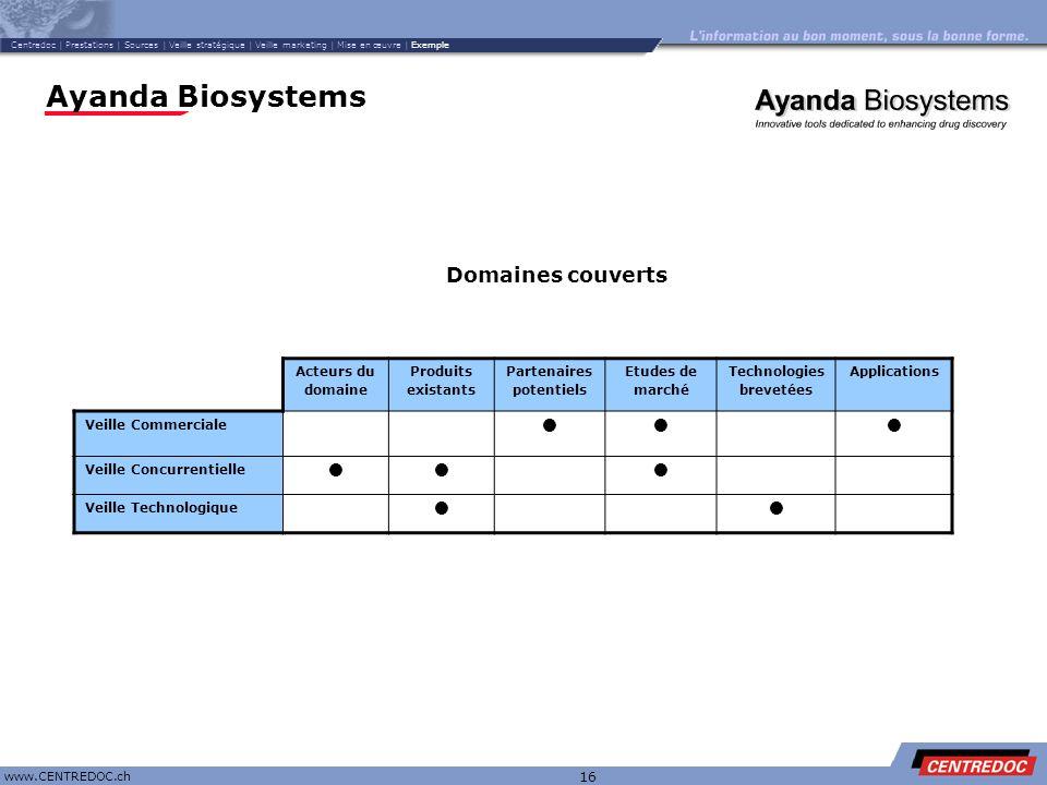 Titre www.CENTREDOC.ch 16 Ayanda Biosystems Acteurs du domaine Produits existants Partenaires potentiels Etudes de marché Technologies brevetées Appli