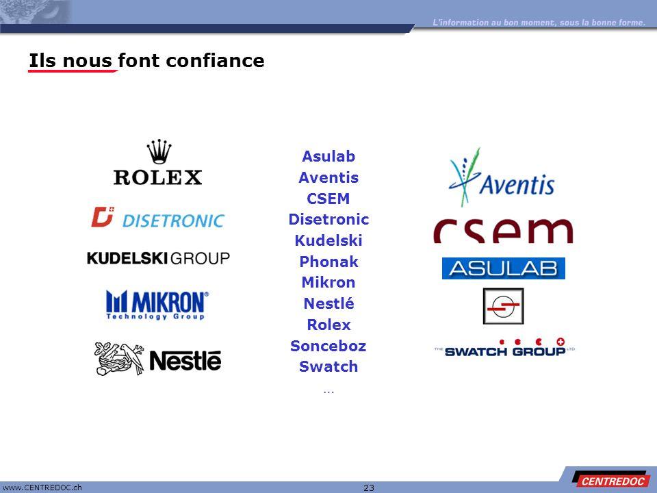 Titre www.CENTREDOC.ch 23 Asulab Aventis CSEM Disetronic Kudelski Phonak Mikron Nestlé Rolex Sonceboz Swatch … Ils nous font confiance